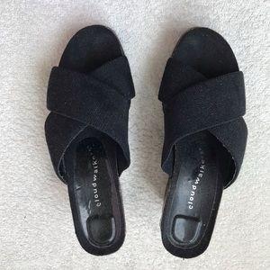 Black wedge heels Size 7 1/2.